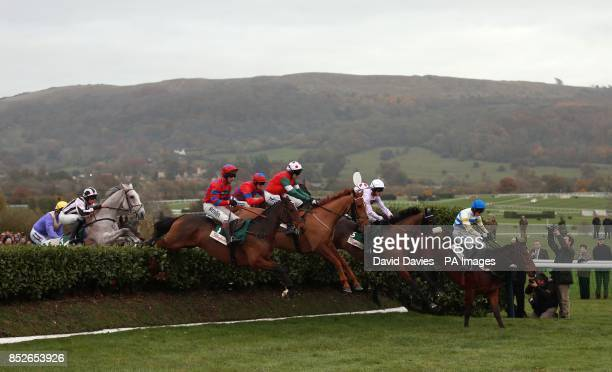 Zest for Life ridden by Nina Carberry leads the field over the first in the Glenfarclas Cross Country Chase during The Open Festival at Cheltenham...