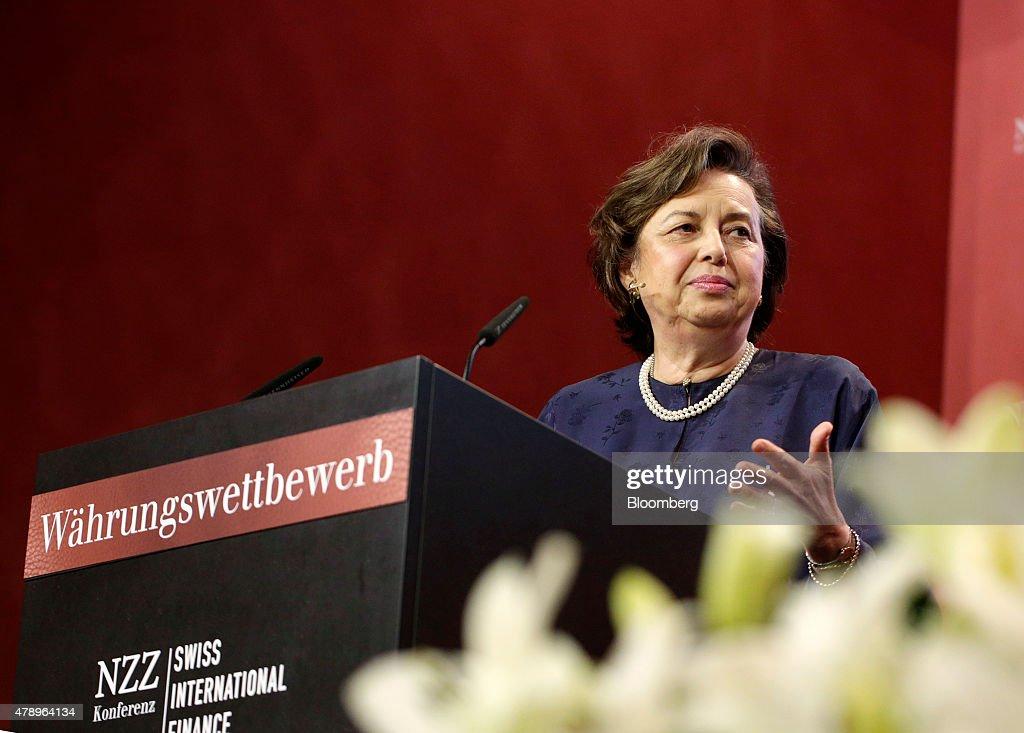 Zeti Akhtar Aziz governor of the Bank Negara Malaysia gestures as she speaks during the Swiss International Finance Forum in Bern Switzerland on...