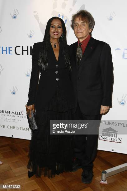 Zeudi Araya and Massimo Spano arrive for the Children for Peace Gala Dinner at Cardinal Gallery on December 2 2017 in Rome Italy