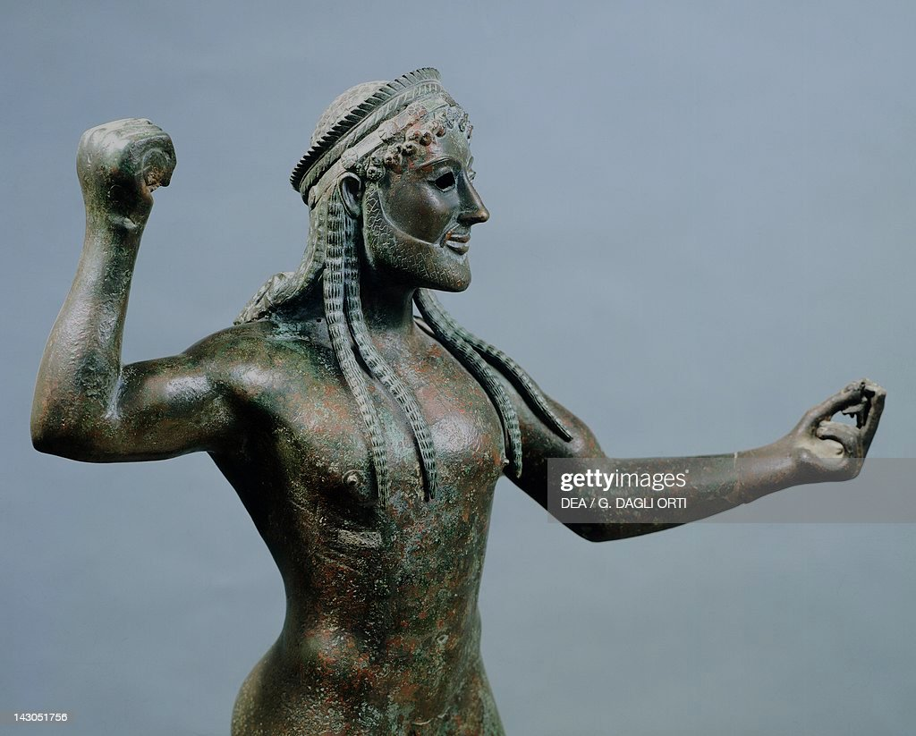 Zeus or poseidon bronze statue from ugento in apulia italy detail pictures getty images - Poseidon statue greece ...