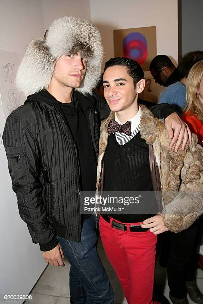 Zev Eisenberg and Adrien Field attend PAPERCUT Inaugural Exhibition to Celebrate the Print Making Process at Heist Gallery on December 13 2008 in New...