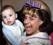 Zev Isaac Miller and mother Marissa Jaret Winokur pose backstage at The 'Hairspray' Closing Night on Broadway at The Neil Simon Theater on January 4...