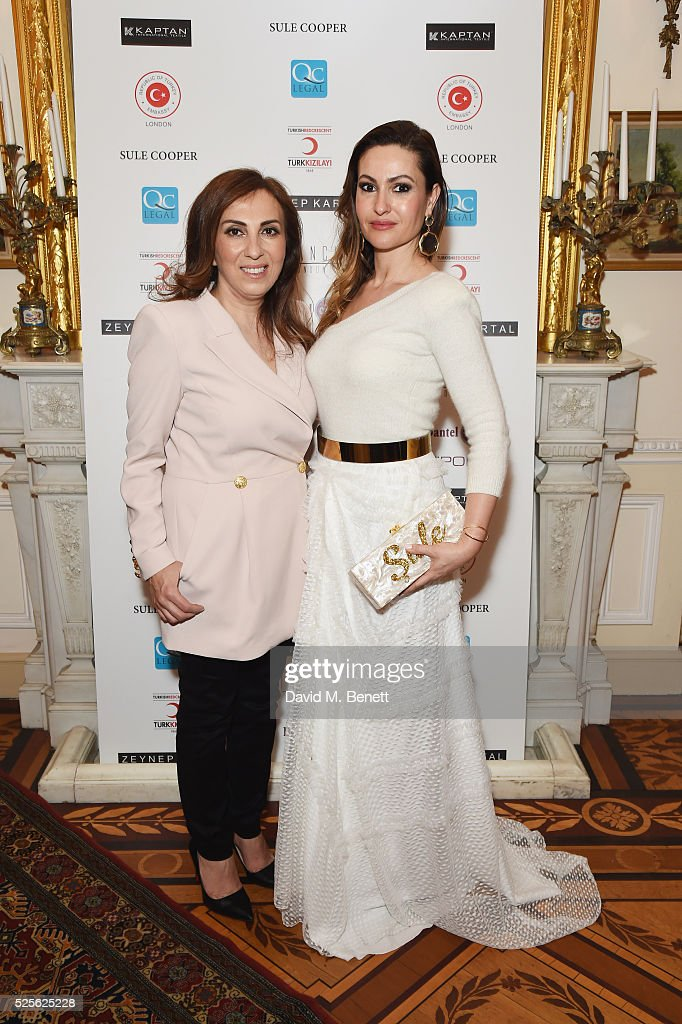 Zeynep Kartal and Sule Cooper attend the Zeynep Kartal catwalk show in support of the Syrian children refugee crisis charity Turk Kizilayi on April 28, 2016 in London, England.