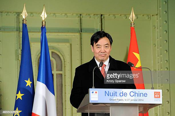 Zhai Zun Ambassador of the People's Republic of China speaks during the 'Nuit De La Chine' at the Grand Palais on January 27 2014 in Paris France