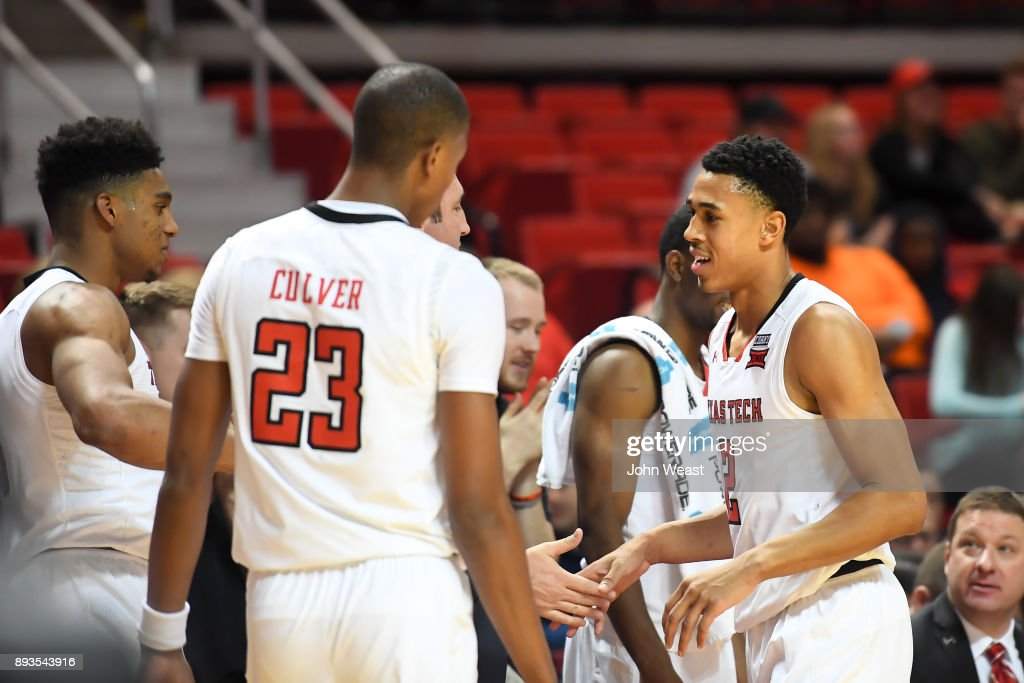 Zhaire Smith #2 of the Texas Tech Red Raiders congratulated by teammates during the game against the Kennesaw State Owls on December 13, 2017 at United Supermarkets Arena in Lubbock, Texas. Texas Tech defeated Kennesaw State 82-53.