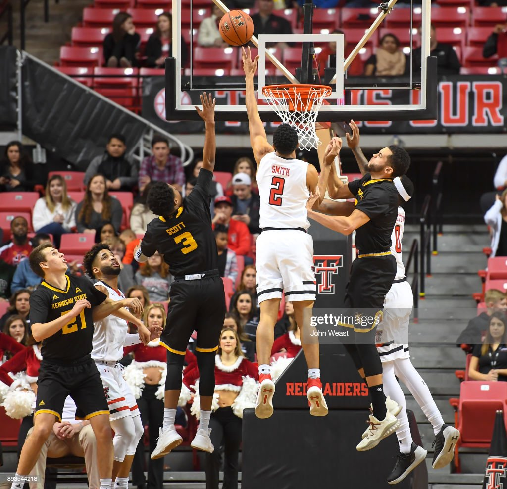 Zhaire Smith #2 of the Texas Tech Red Raiders tries to tip in the rebound during the game against the Kennesaw State Owls on December 13, 2017 at United Supermarkets Arena in Lubbock, Texas. Texas Tech defeated Kennesaw State 82-53.