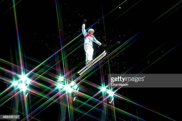Zhanbota Aldabergenova of Kazakhstan makes a practice jump ahead of the Freestyle Skiing Ladies' Aerials Qualification on day seven of the Sochi 2014...