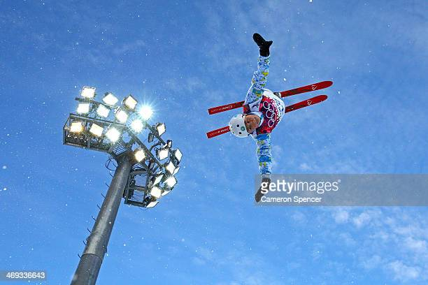 Zhanbota Aldabergenova of Kazakhstan practices before the Freestyle Skiing Ladies' Aerials Qualification on day seven of the Sochi 2014 Winter...