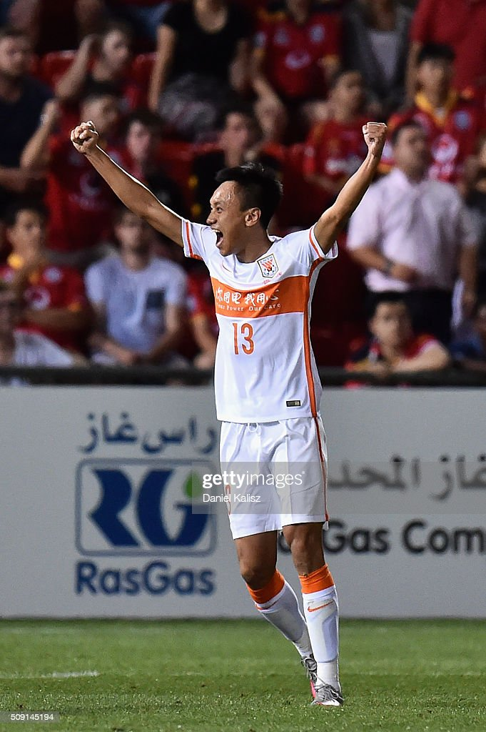 Zhang Chi of Shandong Luneng reacts after the final whistle during the AFC Champions League playoff match between Adelaide United and Shandong Luneng at Coopers Stadium on February 9, 2016 in Adelaide, Australia.