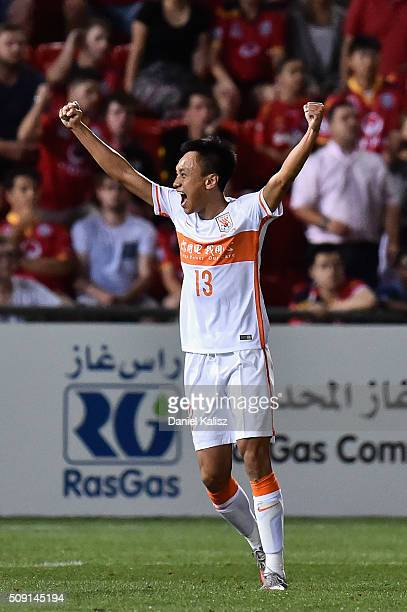 Zhang Chi of Shandong Luneng reacts after the final whistle during the AFC Champions League playoff match between Adelaide United and Shandong Luneng...