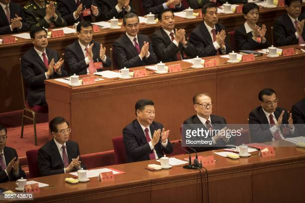Zhang Dejiang chairman of the Standing Committee of the National People's Congress front row from left Hu Jintao China's former president Xi Jinping...