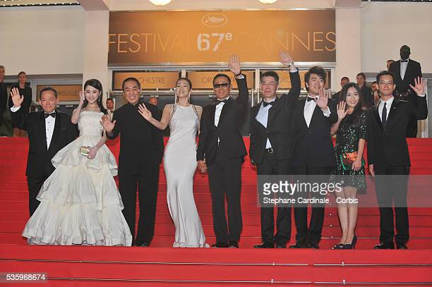 Zhang Huiwen Zhang Yimou Chen Daoming Gong Li Zhang Zhao at the 'Lost River' premiere during the 67th Annual Cannes Film Festival