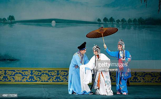 Zhang Huoding XU Chang and Zhang Yao of the Peking Opera perform during 'Legend Of The White Snake' and 'The Jewelry Purse' Preview at David H Koch...