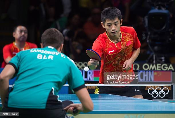 Zhang Jik of China competes during the Mens Table Tennis Singles Semifinal match between Vladimir Samsonov of Belarus and Zhang Jik of China at Rio...