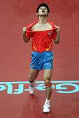 Zhang Jike of China celebrates winning the Men's Single Final match between Wang Hao of China and Zhang Jike of China during the World Table Tennis...
