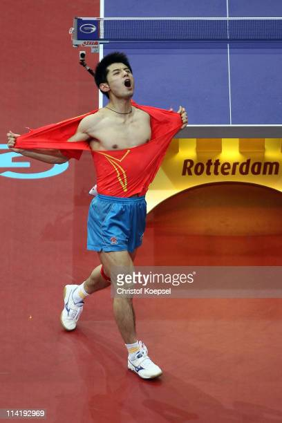 Zhang Jike of China celebrates winning the Men's Single Final match between Wang Hao of China and Zhang Jike of China during the World Table Tennis...