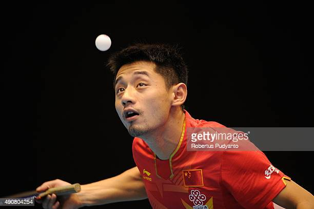 Zhang Jike of China competes against Chew Zhe Yu Clarence of Singapore during Men's singles round 32 match of the 22nd 2015 ITTF Asian Table Tennis...
