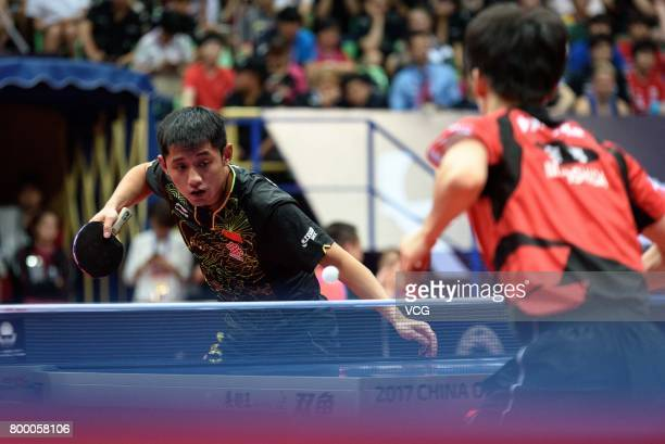 Zhang Jike of China competes during the men's singles first round match against Masaki Yoshida of Japan on the day one of the 2017 ITTF World Tour...