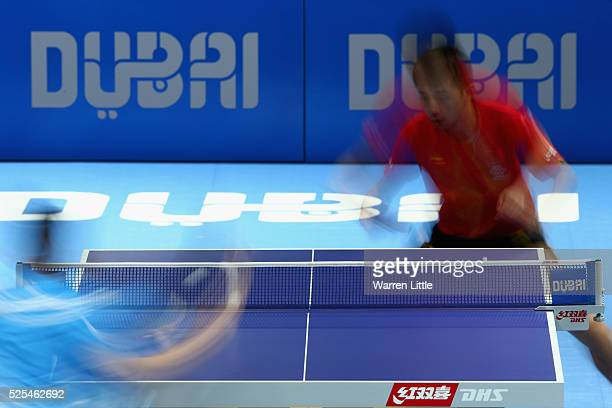 Zhang Jike of China in action against Wong Chun Ting of Hong Kong during day one of the Nakheel Table Tennis Asian Cup 2016 at Dubai World Trade...