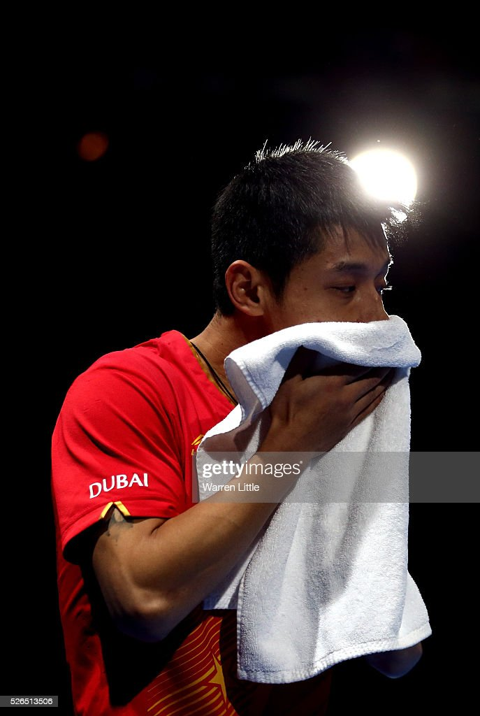 Zhang Jike of China in action against Xu Xin of China during the Men's singles final of the Nakheel Table Tennis Asian Cup 2016 at Dubai World Trade Centre on April 30, 2016 in Dubai, United Arab Emirates.