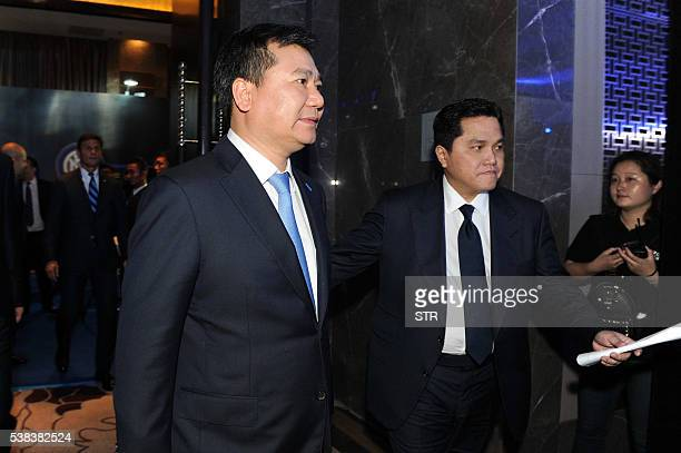Zhang Jindong chairman of the Suning Holdings Group arrives for a press conference for Suning's Acquisition of Inter Milan in Nanjing east China's...