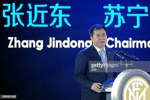 Zhang Jindong chairman of the Suning Holdings Group delivers a speech during a press conference for Suning's Acquisition of Inter Milan in Nanjing...