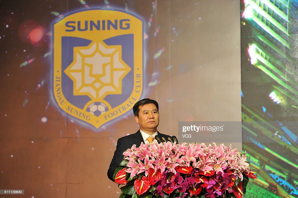Zhang Jindong president of the Suning Group attends the mobilization meeting for the AFC Champions League 2016 on February 18 2016 in Nanjing China