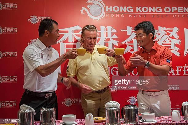 Zhang Lianwei Miguel Angel Jimenez and Liang WenChong at Hong Kong Golf Open Championship Press Conference on October 14 2014 in Hong Kong