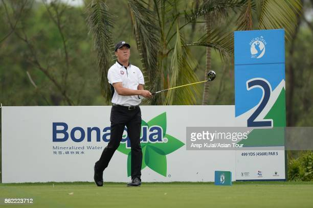 Zhang Lianwei of China pictured during practice ahead of the Macao Open at Macau Golf and Country Club on October 17 2017 in Macau Macau