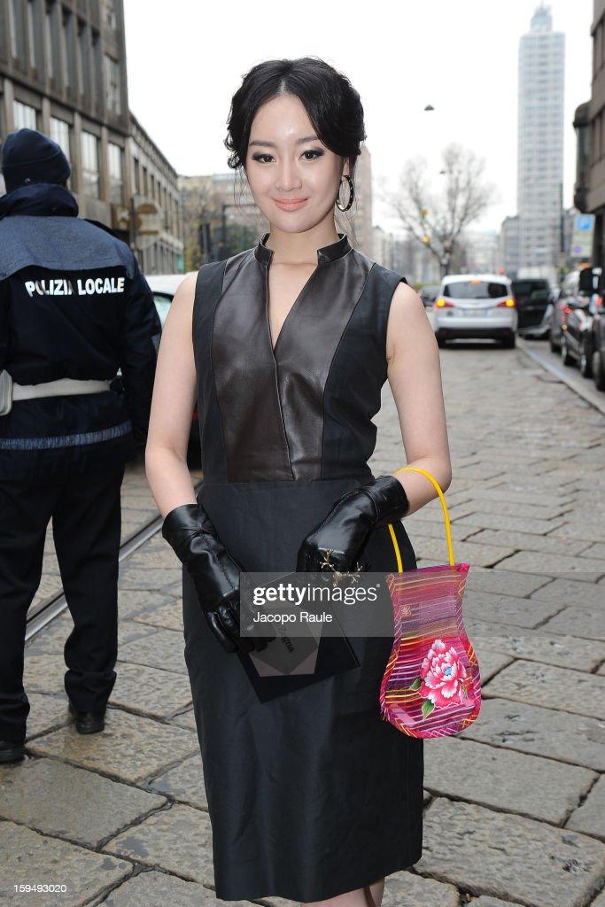 Zhang Meng arrives at Z Zegna during Milan Fashion Week Menswear Autumn/Winter 2013 on January 14, 2013 in Milan, Italy.