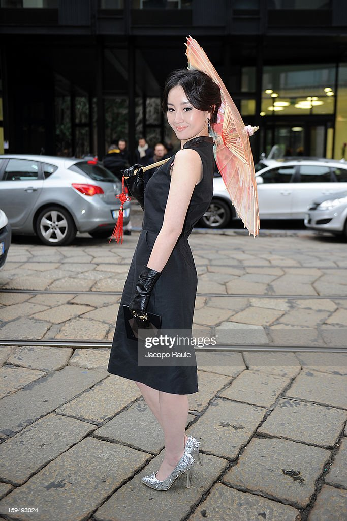 Zhang Meng arrives at Z Zegna during Milan Fashion Week Menswear Autumn/Winter 2013 on January 14, 2013 in Milan, Italy.
