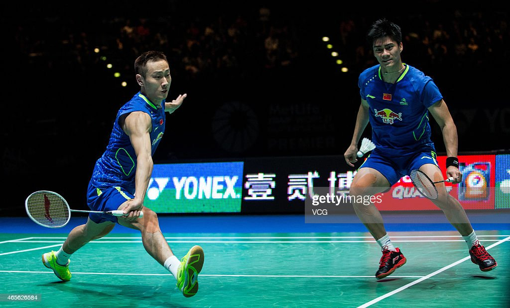 <a gi-track='captionPersonalityLinkClicked' href=/galleries/search?phrase=Zhang+Nan+-+Badminton+Player&family=editorial&specificpeople=9612243 ng-click='$event.stopPropagation()'>Zhang Nan</a> and Fu Haifeng of China compete against Boe Mathias and Carsten Mogensen of Denmark in the men's mixed doubles final during day six of YONEX All England Open Badminton Championships at Birmingham Barclaycard Arena on March 8, 2015 in Birmingham, England.