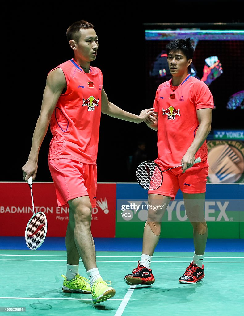 <a gi-track='captionPersonalityLinkClicked' href=/galleries/search?phrase=Zhang+Nan+-+Badminton+Player&family=editorial&specificpeople=9612243 ng-click='$event.stopPropagation()'>Zhang Nan</a> and Fu Haifeng of China react during Men's Doubles match against Mohammad Ahsan and Hendra Setiawan of Indonesia on day three of YONEX All England Open Badminton Championships at Birmingham Barclaycard Arena on March 5, 2015 in Birmingham, England.