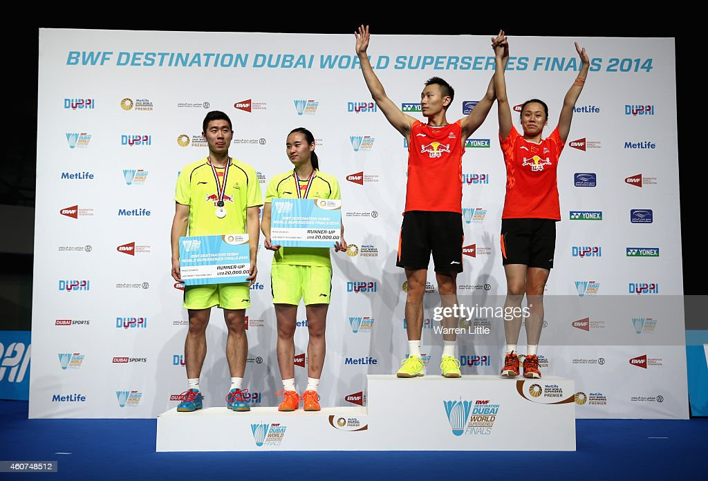<a gi-track='captionPersonalityLinkClicked' href=/galleries/search?phrase=Zhang+Nan+-+Badminton+Player&family=editorial&specificpeople=9612243 ng-click='$event.stopPropagation()'>Zhang Nan</a> and <a gi-track='captionPersonalityLinkClicked' href=/galleries/search?phrase=Zhao+Yunlei&family=editorial&specificpeople=5534160 ng-click='$event.stopPropagation()'>Zhao Yunlei</a> of China a re pictured with their trophies after beating Liu Cheng and <a gi-track='captionPersonalityLinkClicked' href=/galleries/search?phrase=Bao+Yixin&family=editorial&specificpeople=8308329 ng-click='$event.stopPropagation()'>Bao Yixin</a> of China in the Mixed Doubles match during day five of the BWF Destination Dubai World Superseries Finals at the Hamdan Sports Complex on December 21, 2014 in Dubai, United Arab Emirates.