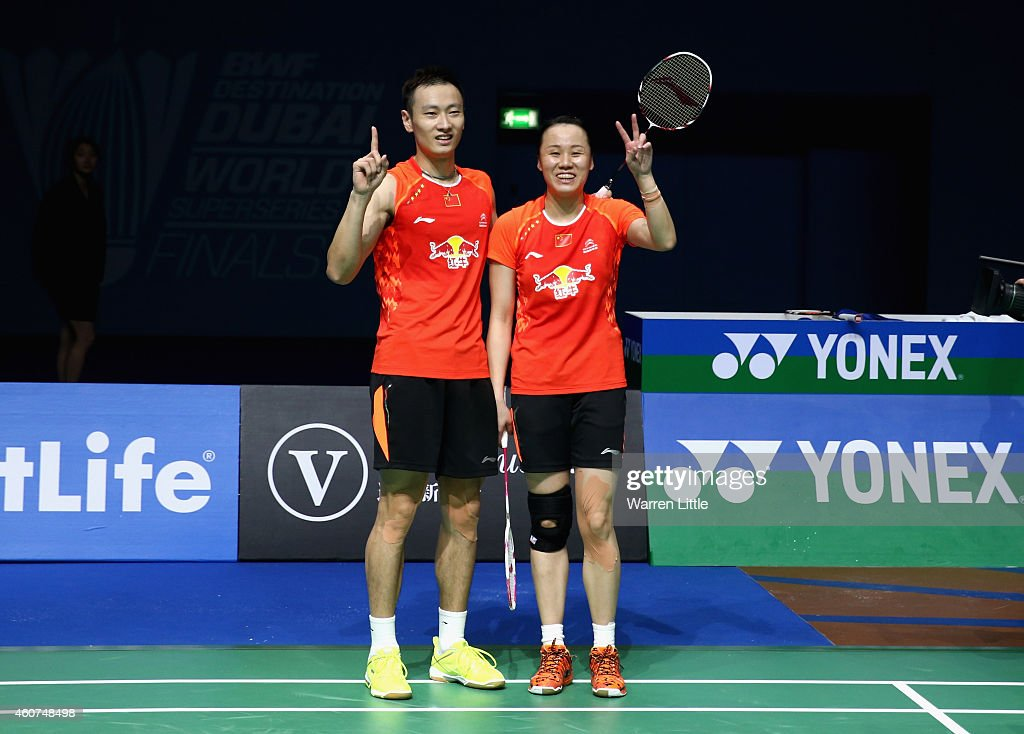 <a gi-track='captionPersonalityLinkClicked' href=/galleries/search?phrase=Zhang+Nan+-+Badminton+Player&family=editorial&specificpeople=9612243 ng-click='$event.stopPropagation()'>Zhang Nan</a> and <a gi-track='captionPersonalityLinkClicked' href=/galleries/search?phrase=Zhao+Yunlei&family=editorial&specificpeople=5534160 ng-click='$event.stopPropagation()'>Zhao Yunlei</a> of China celebrate after beating Liu Cheng and Bao Yixin of China in the Mixed Doubles match during day five of the BWF Destination Dubai World Superseries Finals at the Hamdan Sports Complex on December 21, 2014 in Dubai, United Arab Emirates.