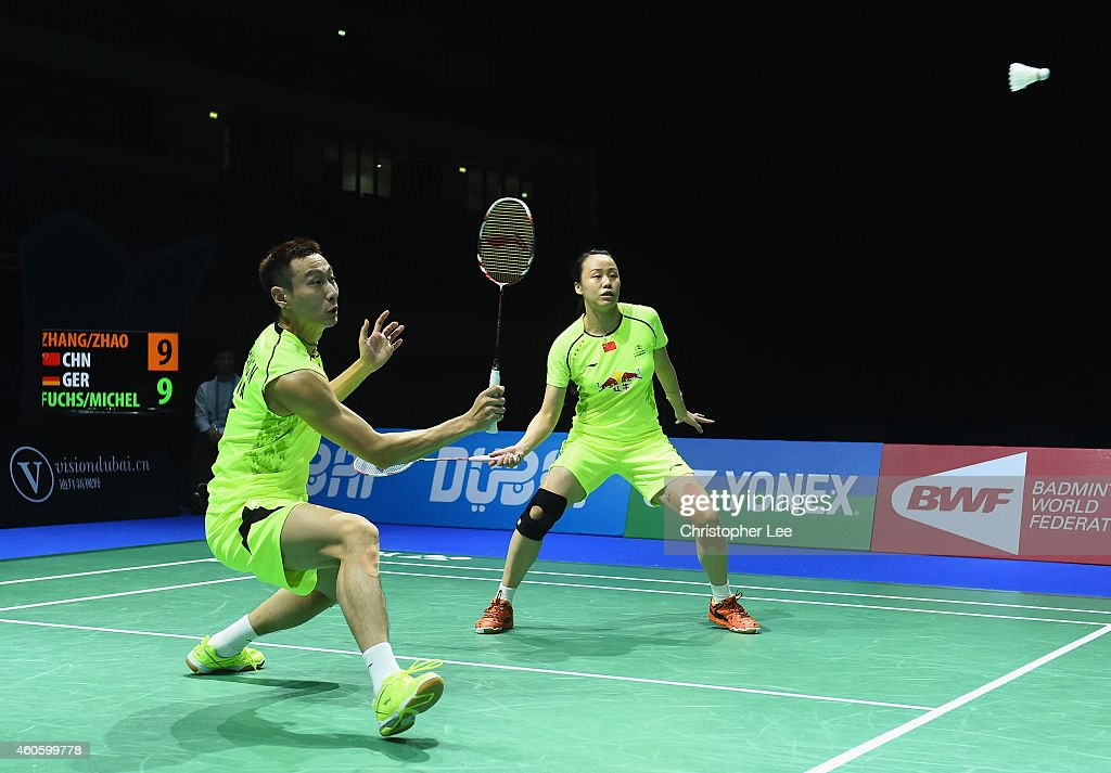 <a gi-track='captionPersonalityLinkClicked' href=/galleries/search?phrase=Zhang+Nan+-+Badminton+Player&family=editorial&specificpeople=9612243 ng-click='$event.stopPropagation()'>Zhang Nan</a> (L) and <a gi-track='captionPersonalityLinkClicked' href=/galleries/search?phrase=Zhao+Yunlei&family=editorial&specificpeople=5534160 ng-click='$event.stopPropagation()'>Zhao Yunlei</a> of China in action against Michael Fuchs and Birgit Michels of Germany in the Mixed Doubles during day one of the BWF Destination Dubai World Superseries Finals at the Hamdan Sports Complex on December 17, 2014 in Dubai, United Arab Emirates.