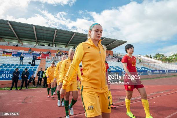 Zhang Rui of China at the beginning of the match with Ellie Carpenter of Australia during the Women's Algarve Cup Tournament match between China and...