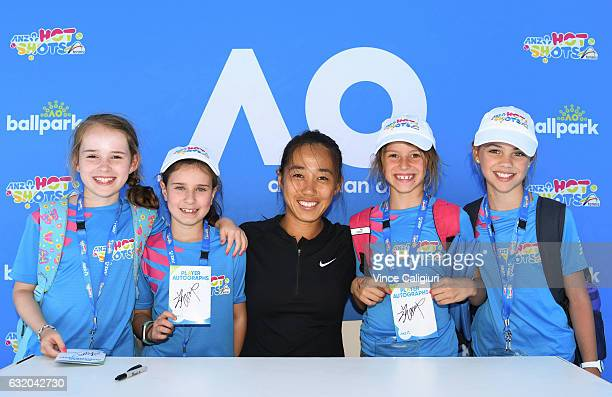 Zhang Shuai of China poses at Autograph Island during Day four of the 2017 Australian Open at Melbourne Park on January 18 2017 in Melbourne Australia
