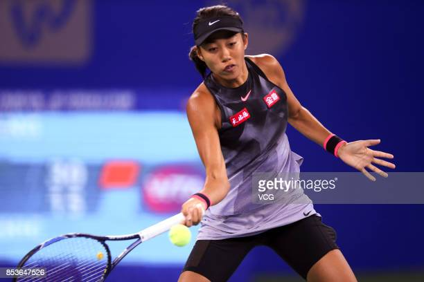 Zhang Shuai of China returns a shot during the first round match against Donna Vekic of Croatia on Day 2 of 2017 Dongfeng Motor Wuhan Open at Optics...
