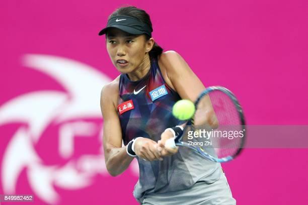 Zhang Shuai of China returns a shot during the match against Ipek Soylu of Turkey on Day 3 of WTA Guangzhou Open on September 20 2017 in Guangzhou...