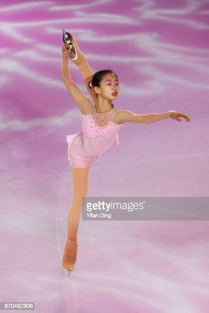 Zhang Siyang of China performs during exhibition program of Audi Cup of China ISU Grand Prix of Figure Skating 2017 at Beijing Capital Gymnasium on...