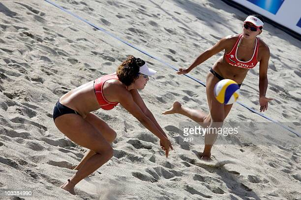 Zhang Xi and Chen Xue of China play during the women`s final match of the world tour open beach volleyball tournament in Kristiansand on August 14...
