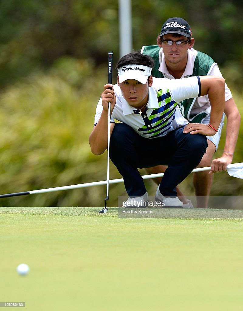 Zhang Xin Jun of China lines up a putt on the ninth hole during round one of the Australian PGA at the Palmer Coolum Resort on December 13, 2012 in Sunshine Coast, Australia.