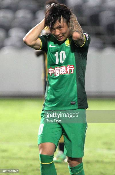 Zhang Xizhe of Beijing Guoan misses a penalty during the Asian Champions League match between the Central Coast Mariners and Beijing Guoan at...