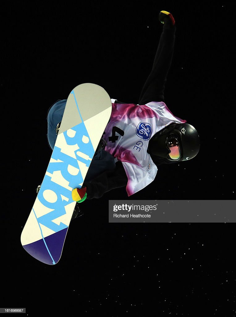 Zhang Yiwel of China in action during the mens FIS World Cup Snowboard Half Pipe competition at the Rosa Khutor Extreme Park in Krasnya Polyana on February 14, 2013 in Sochi, Russia. Sochi is preparing for the 2014 Winter Olympics with test events across the venues.