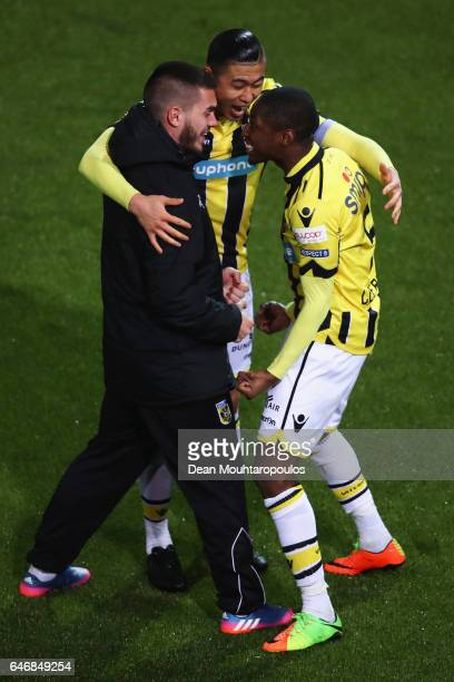 Zhang Yuning and Kelvin Leerdam of Vitesse Arnhem celebrates victory with team mates after the Dutch KNVB Cup Semifinal match between Sparta...