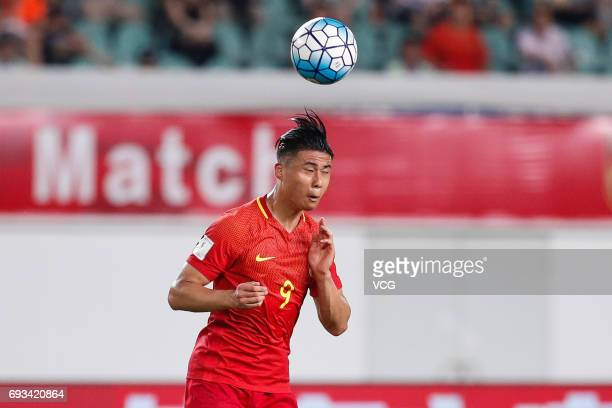 Zhang Yuning of China National Team heads the ball during the 2017 CFA Team China International Football Match between China National Team and...