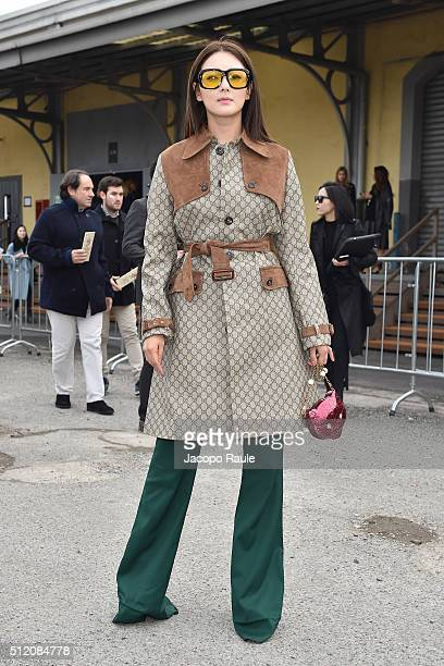 Zhang Yuqi arrives at the Gucci show during Milan Fashion Week Fall/Winter 2016/17 on February 24 2016 in Milan Italy