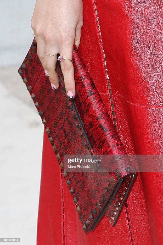 Zhang Yuqi (handbag detail) arrives to attend the 'Valentino' Fall/Winter 2013 Ready-to-Wear show as part of Paris Fashion Week on March 5, 2013 in Paris, France.