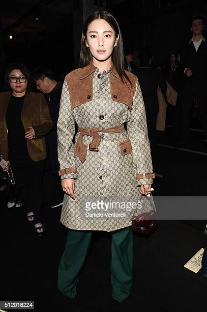 Zhang Yuqi attends the Gucci show during Milan Fashion Week Fall/Winter 2016/17 on February 24 2016 in Milan Italy
